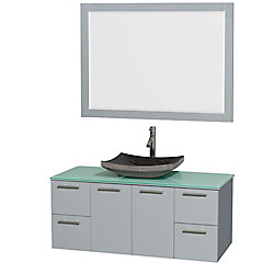Wyndham Collection Amare 48-inch W 2-Drawer 2-Door Wall Mounted Vanity in Grey With Top in Green With Mirror