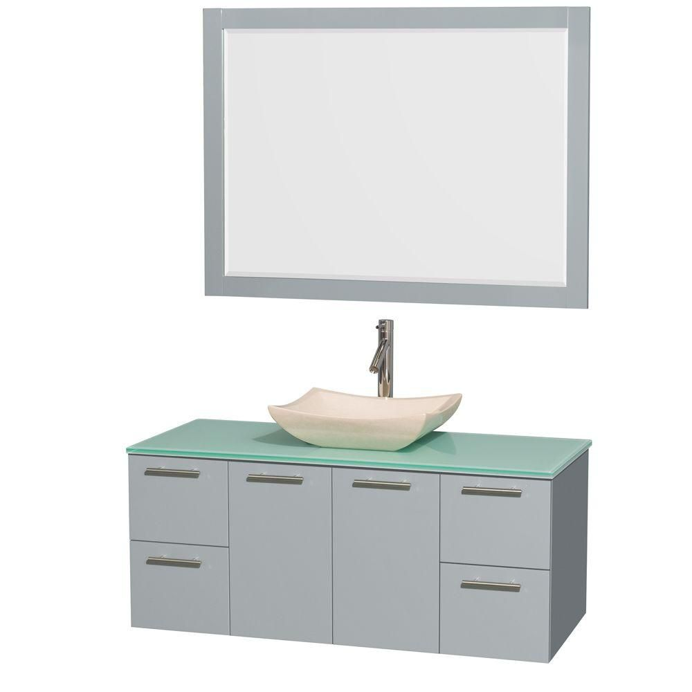 Amare 48-inch W Vanity in Dove Grey with Glass Top, Marble Sink and 46-inch Mirror