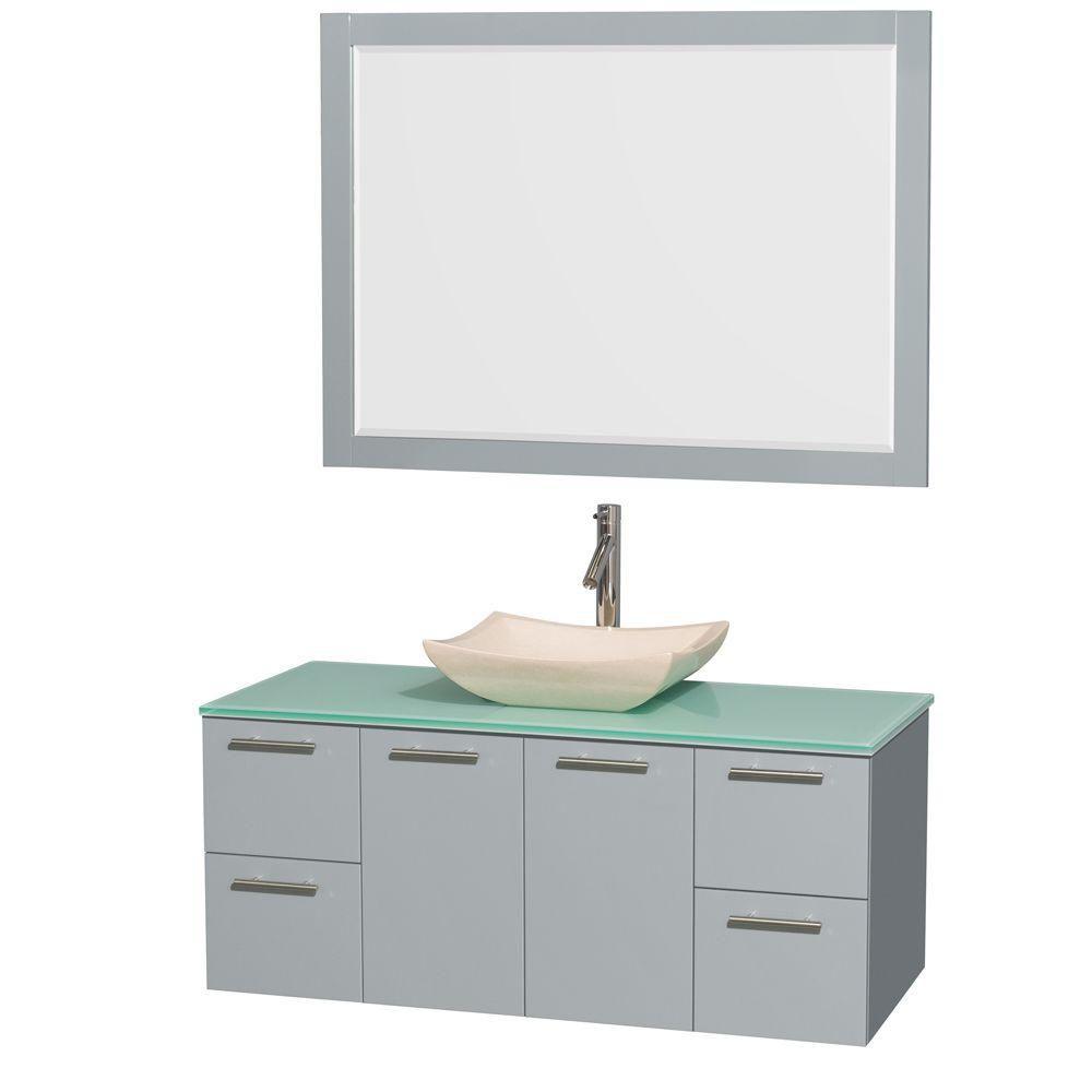 """Meuble s. bains simp Amare 48"""" gris colombe, comptoir verre vert, évier marbre ivoire, mir 46"""""""
