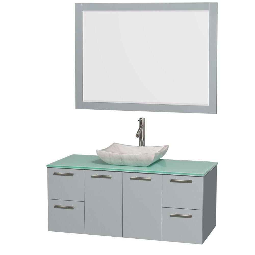 """Meuble s. bains simp Amare 48"""" gris colombe, comptoir verre vert, évier Carrare blc, mir 46"""""""