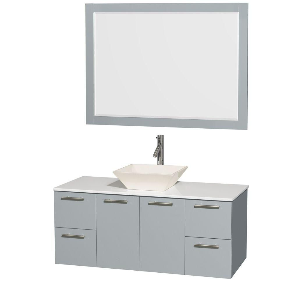 Amare 48-inch W Vanity in Dove Grey with Solid Top, Porcelain Sink and 46-inch Mirror