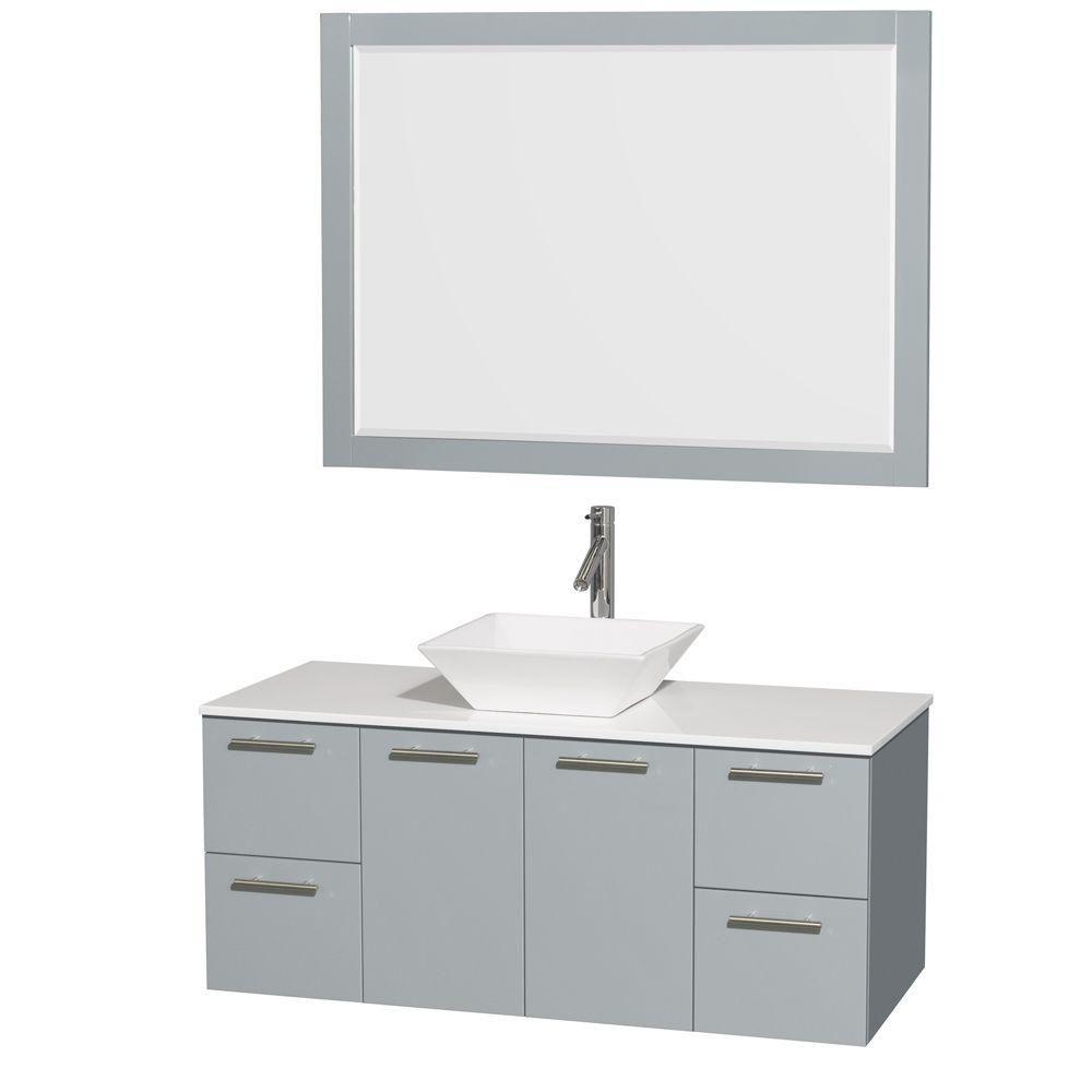 """Meuble s. bains simp Amare 48"""" gris colombe, comptoir solide blanc, évier porcelaine blc, mir 46"""""""