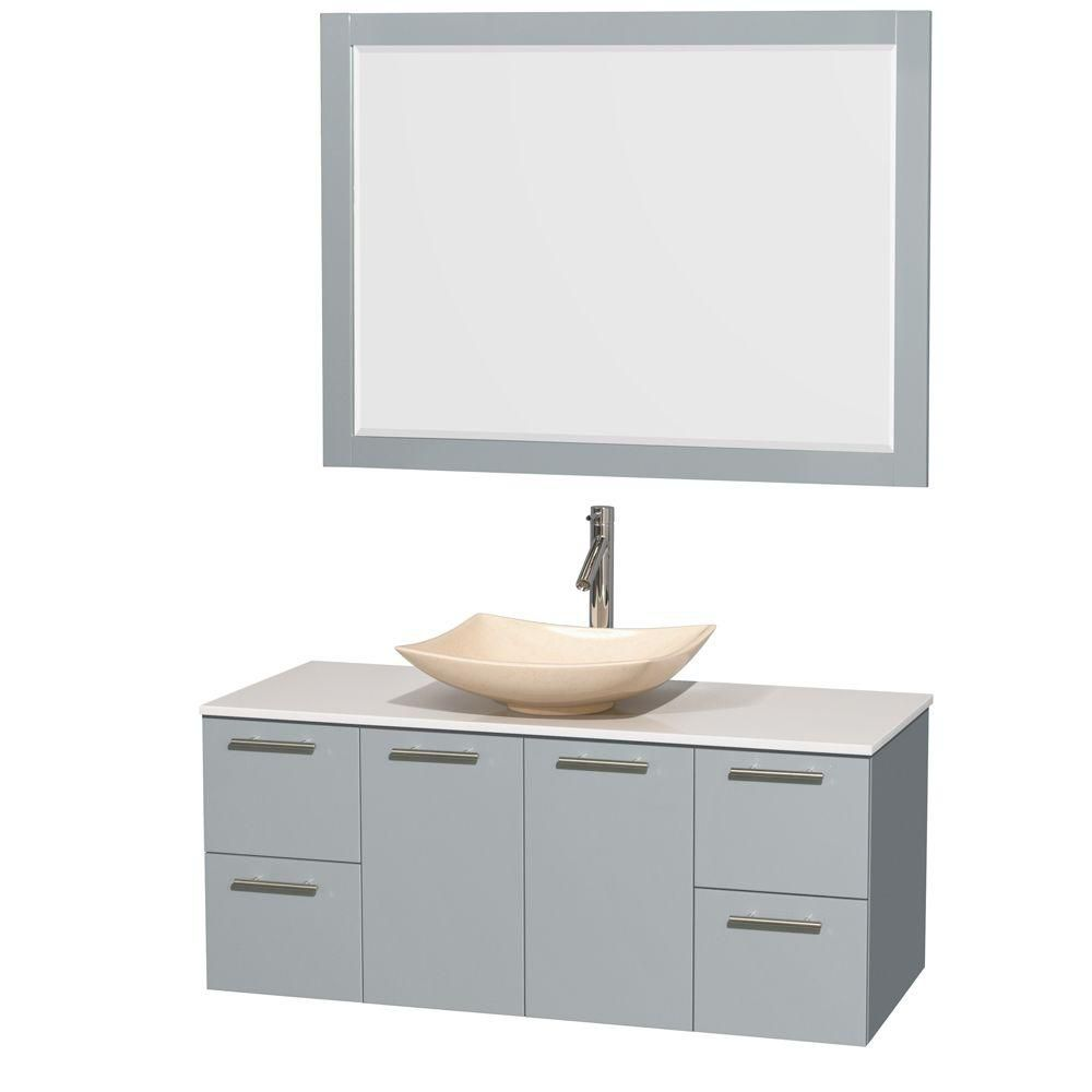 Amare 48-inch W Vanity in Dove Grey with Solid Top, Marble Sink and 46-inch Mirror