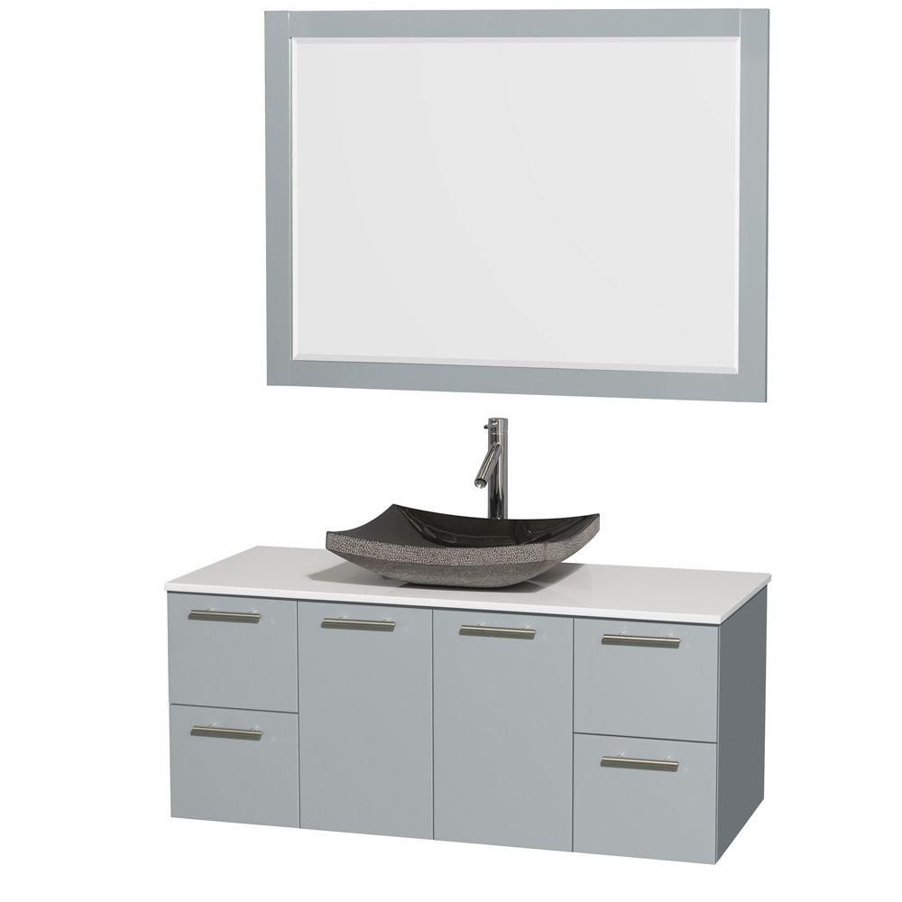 Amare 48-inch W Vanity in Dove Grey with Solid Top, Granite Sink and 46-inch Mirror