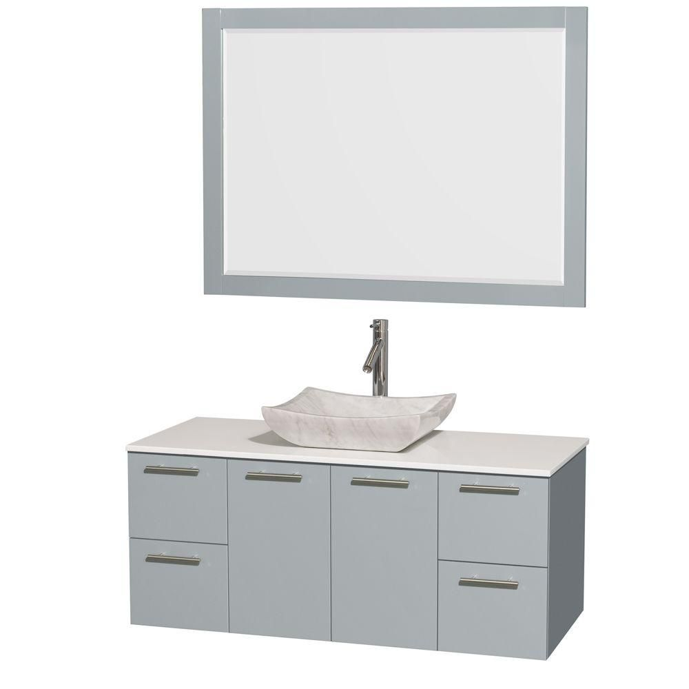 Amare 48-inch W Vanity in Dove Grey with Solid Top, Carrara Sink and 46-inch Mirror