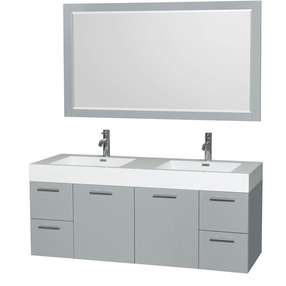 Amare 60-inch W Double Vanity in Dove Grey with Acrylic-Resin Top and 58-inch Mirror