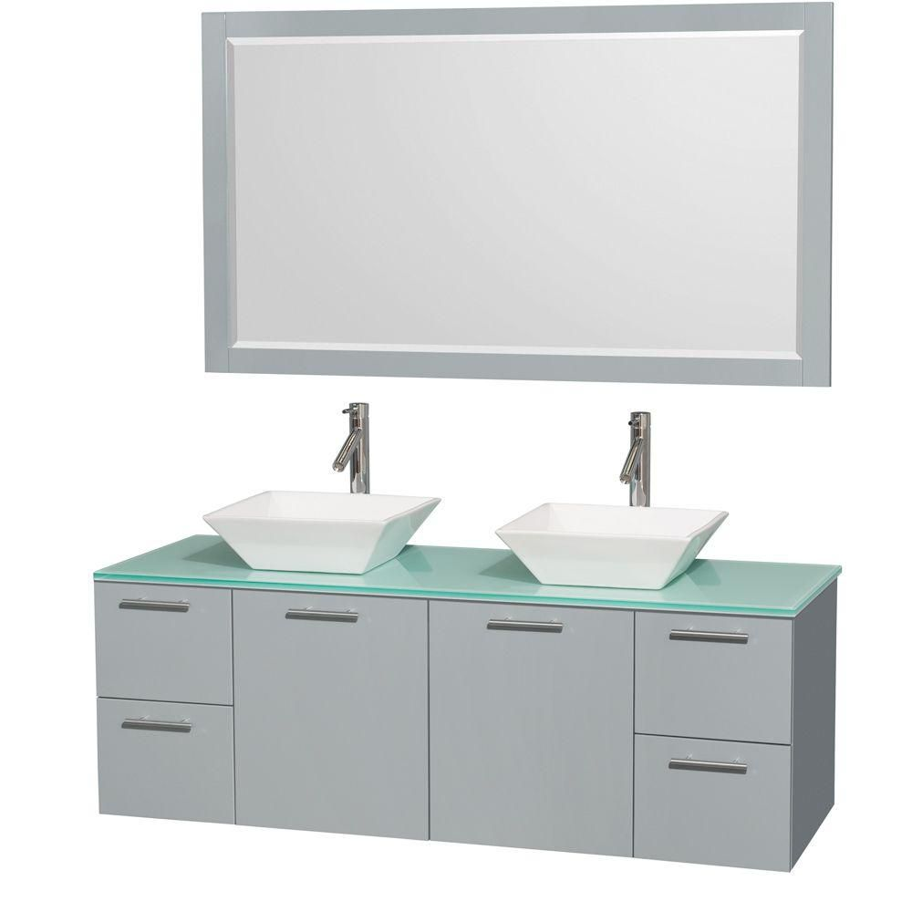 Amare 60-inch W Double Vanity in Dove Grey with Glass Top and 58-inch Mirror