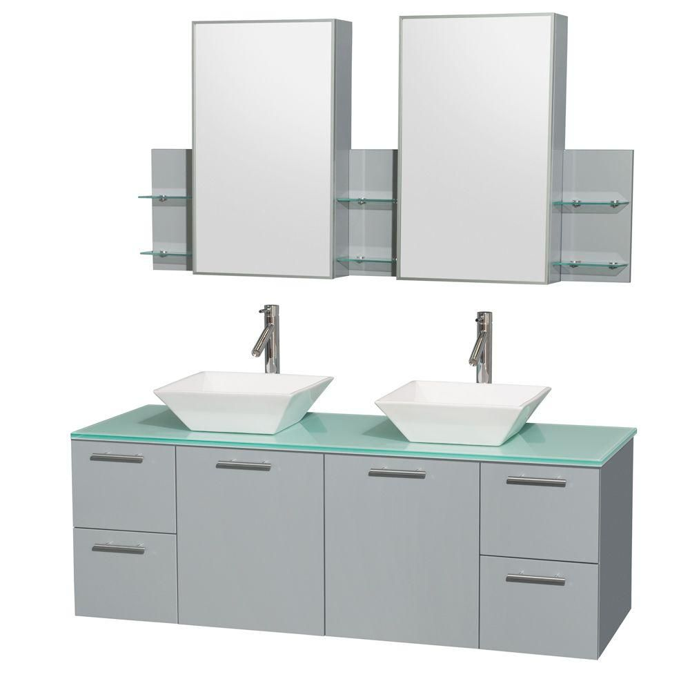 Amare 60-inch W Double Vanity in Dove Grey with Glass Top, Porcelain Sinks and Medicine Cabinet