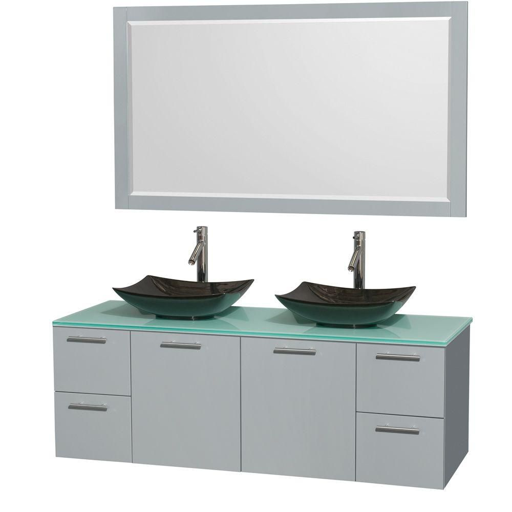 Amare 60-inch W Double Vanity in Dove Grey with Glass Top, Granite Sinks and Mirror