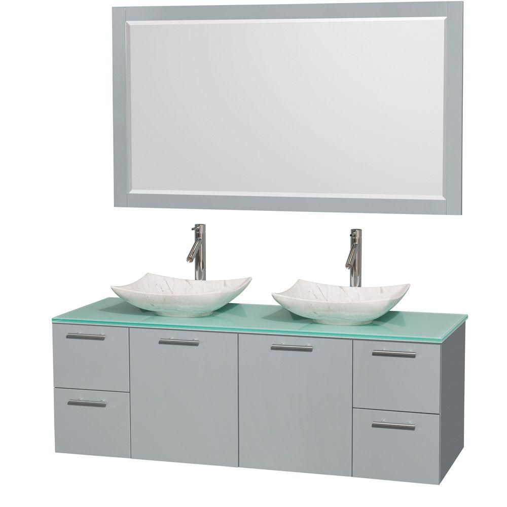 Amare 60-inch W Double Vanity in Dove Grey with Glass Top, Carrara Sinks and Mirror
