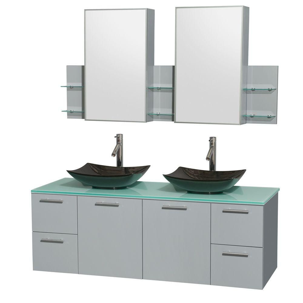Amare 60-inch W Double Vanity in Dove Grey with Glass Top, Granite Sinks and Medicine Cabinet