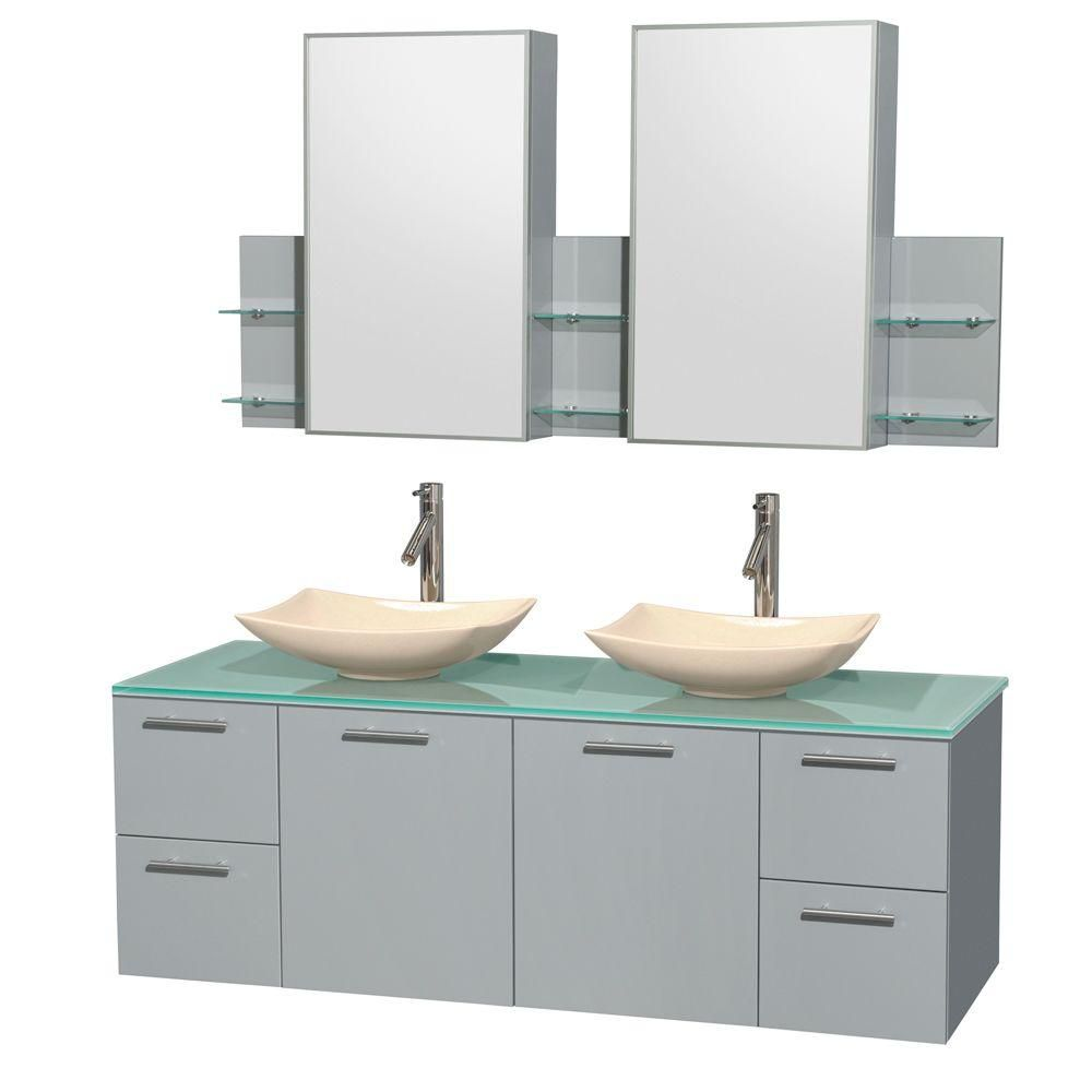 Amare 60-inch W Double Vanity in Dove Grey with Glass Top, Marble Sinks and Medicine Cabinet
