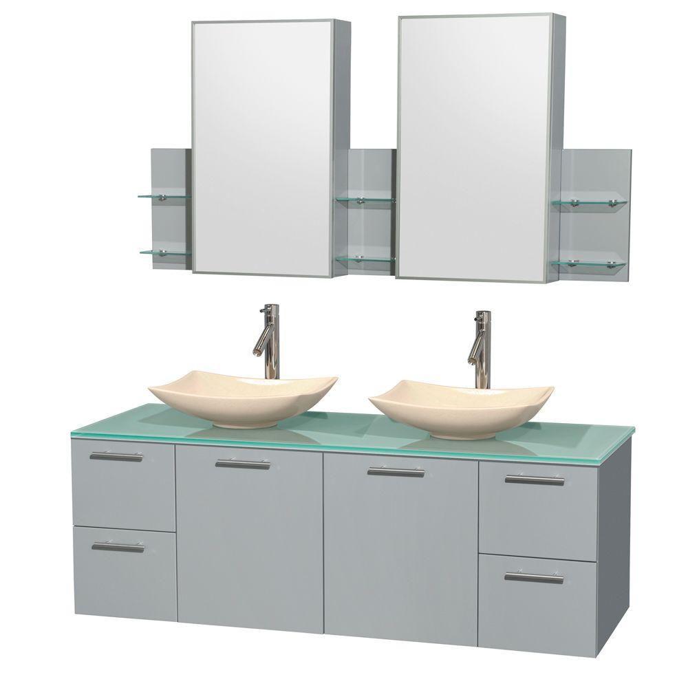 """Meuble s. bains dbl Amare 60"""" gris colombe, comptoir verre vert, éviers marbre ivoire, arm. médic..."""