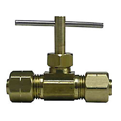 Sioux Chief 1/4 inch Brass Compression Angle Needle Valve with Chrome Plating