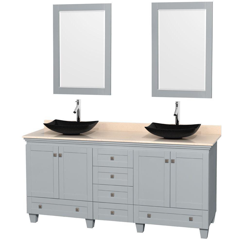 """Meuble s. bains dbl Acclaim 72"""" gris huître, comptoir marbre ivoire, éviers granit noir, miroirs ..."""