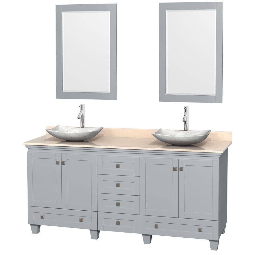 Acclaim 72-inch W Double Vanity in Oyster Grey with Marble Top, Carrara Sinks and Mirror