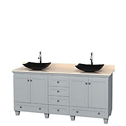 Wyndham Collection Acclaim 72-inch W 6-Drawer 4-Door Freestanding Vanity With Marble Top in Beige Tan, Double Basins