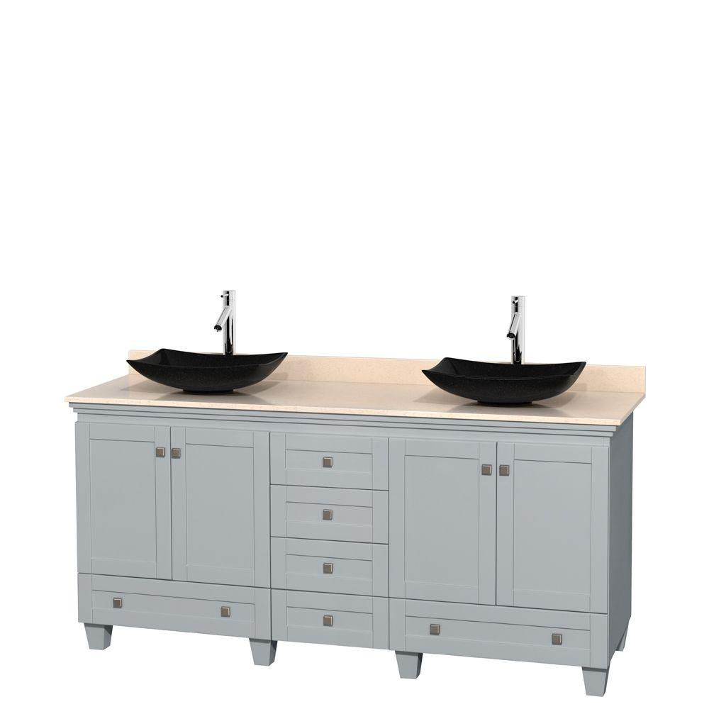 Acclaim 72-inch W Double Vanity in Oyster Grey with Marble Top and Black Granite Sinks
