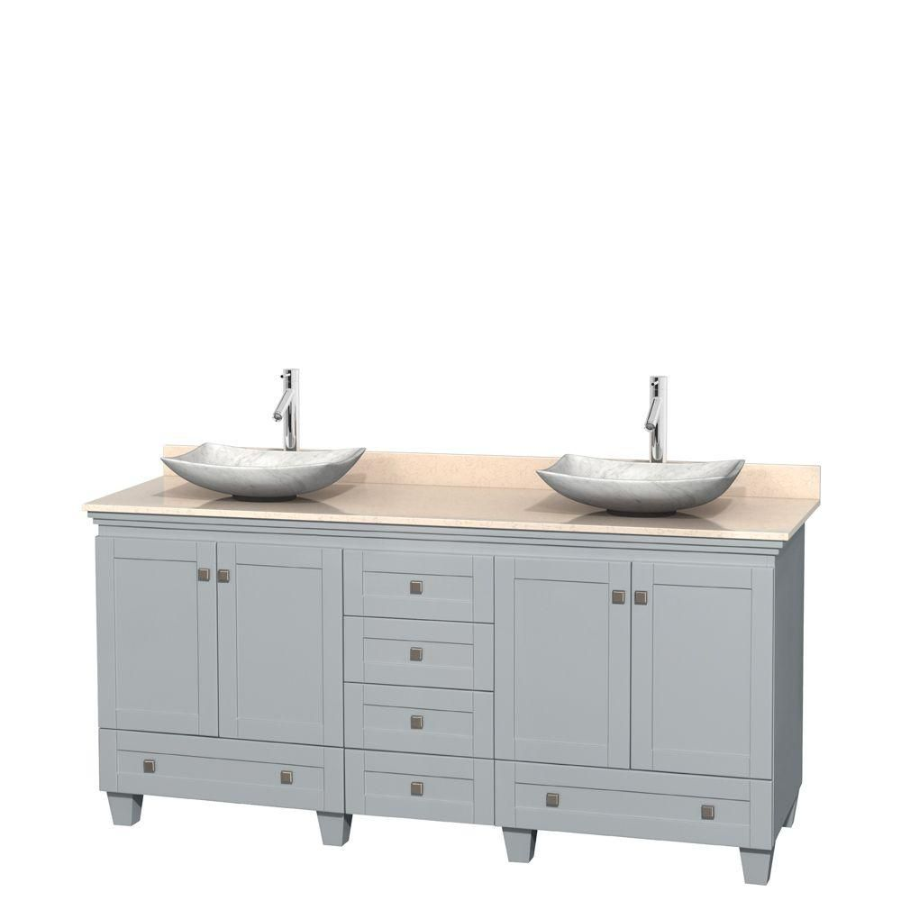 Acclaim 72-inch W Double Vanity in Oyster Grey with Marble Top and White Carrara Sinks
