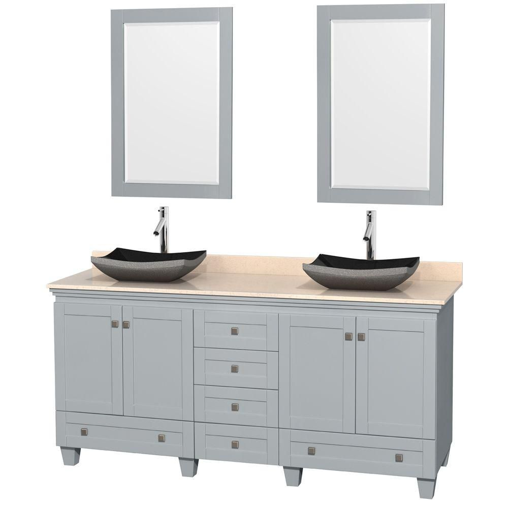 Acclaim 72-inch W Double Vanity in Oyster Grey with Marble Top, Granite Sinks and Mirror