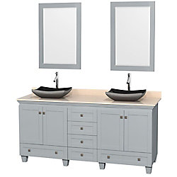 Wyndham Collection Acclaim 72-inch W 6-Drawer 4-Door Vanity With Marble Top in Beige Tan, Double Basins With Mirror