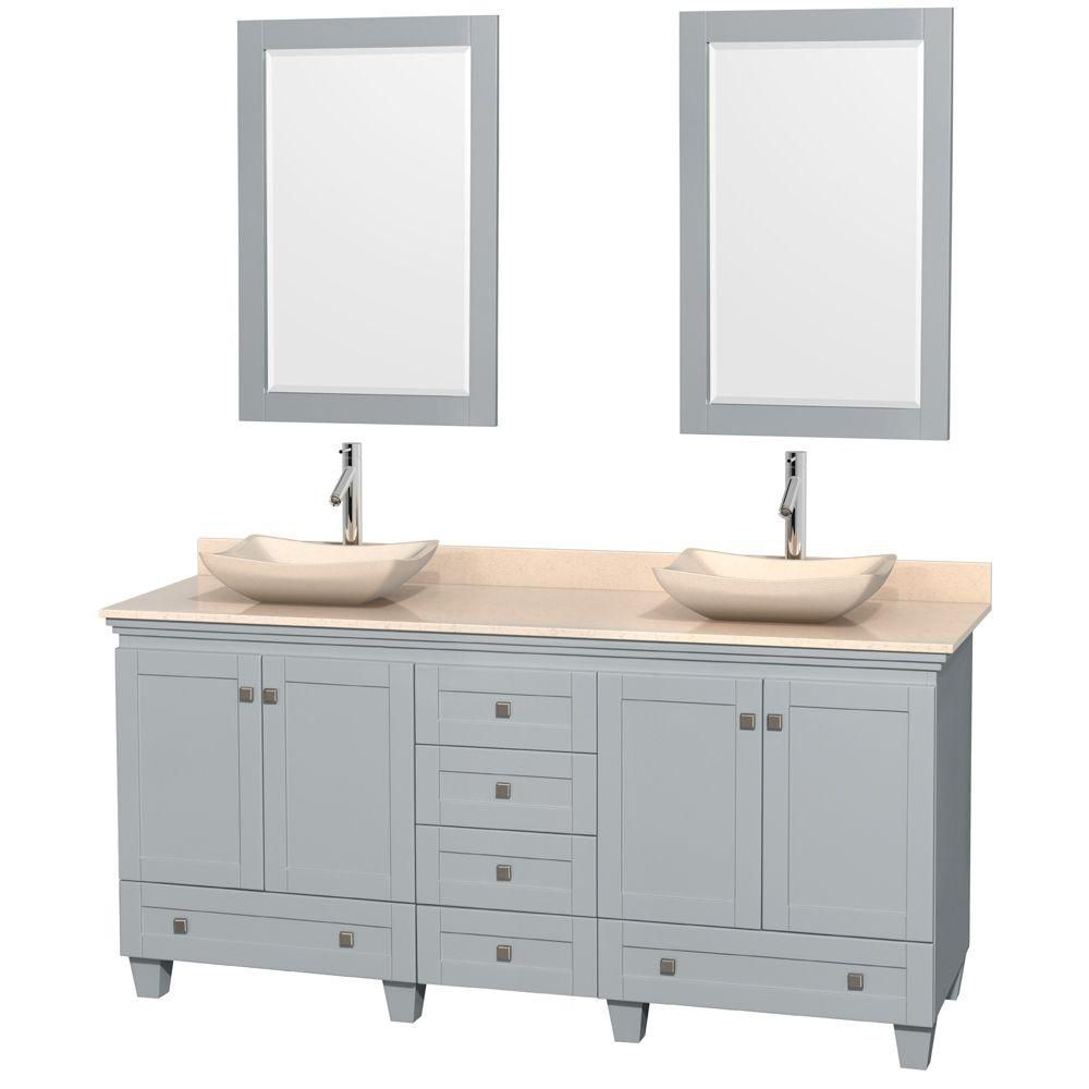 Acclaim 72-inch W Double Vanity in Oyster Grey with Marble Top, Marble Sinks and Mirror