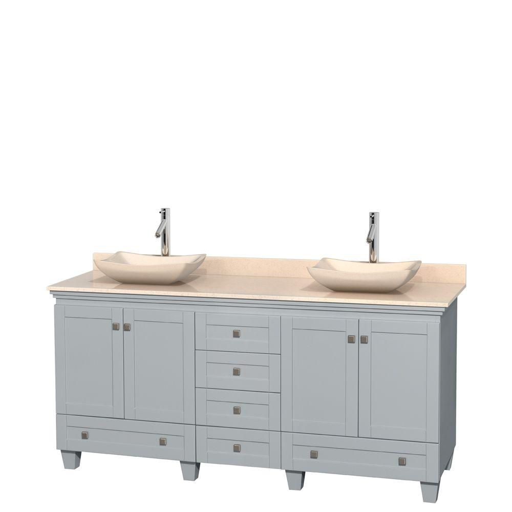 Acclaim 72-inch W Double Vanity in Oyster Grey with Marble Top and Ivory Marble Sinks