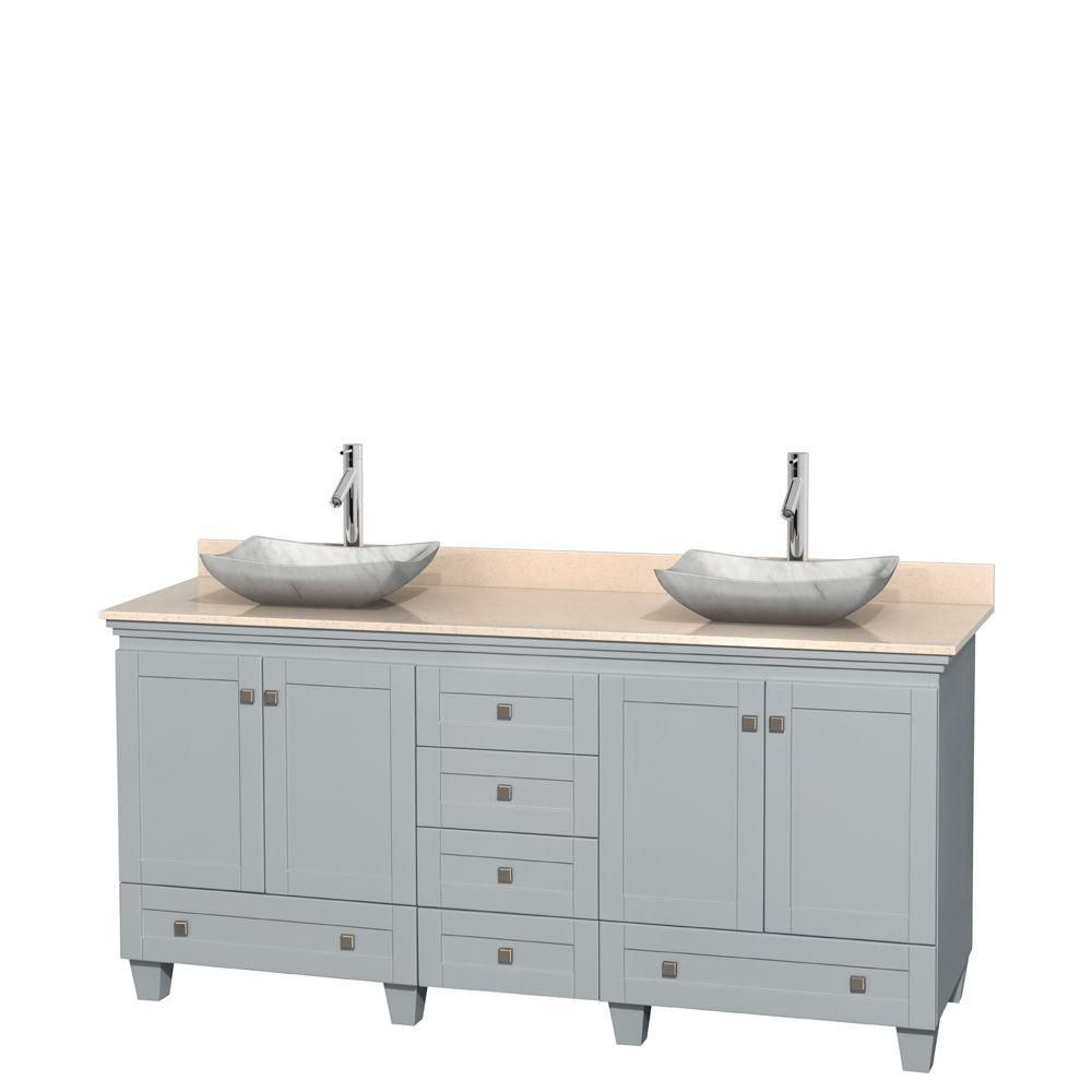 Acclaim 72-inch W Double Vanity in Oyster Grey with Marble Top and Carrara White Sinks