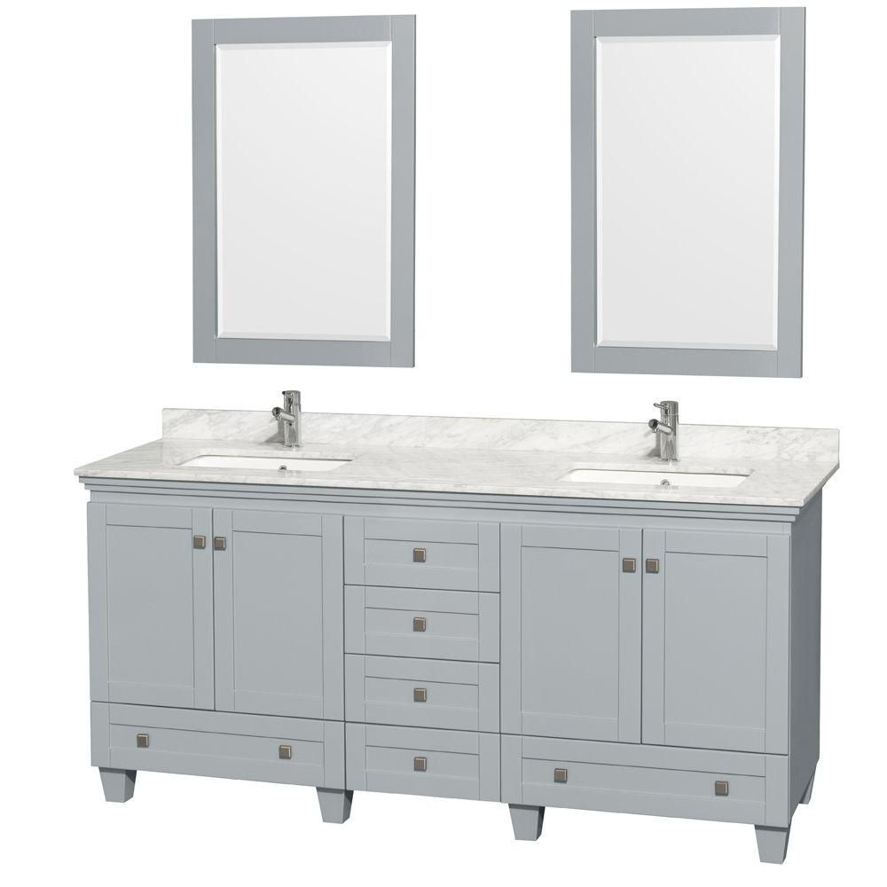 Acclaim 72-inch W Double Vanity in Oyster Grey with Carrara Top, Square Sinks and Mirror