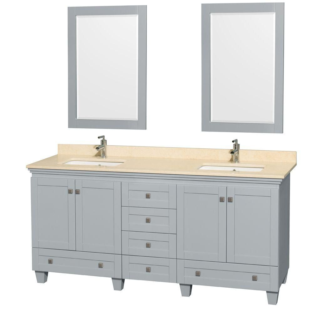 Acclaim 72-inch W Double Vanity in Oyster Grey with Marble Top, Square Sinks and Mirror