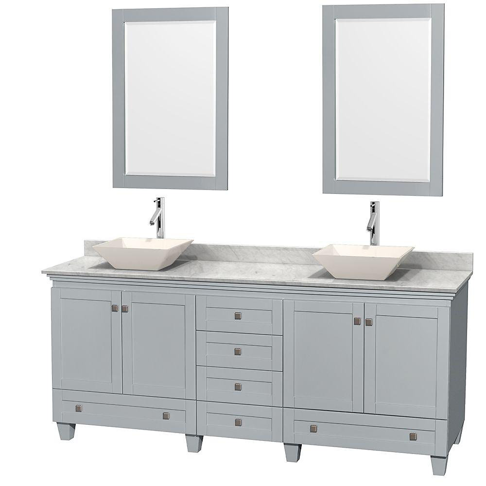 Acclaim 80-inch W 6-Drawer 4-Door Vanity With Marble Top in White, Double Basins With Mirror