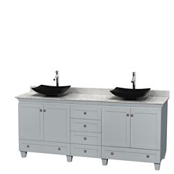 Wyndham Collection Acclaim 80-inch W 6-Drawer 4-Door Freestanding Vanity With Marble Top in White, Double Basins