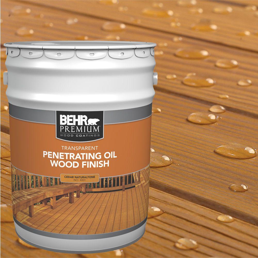Fini d'huile pénétrant et transparent pour bois - Cèdre ton naturel, 18,9 L