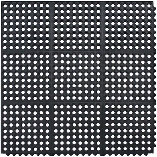 Commercial Anti-fatigue Mat, Black-35.8 Inch x 35.8 Inch