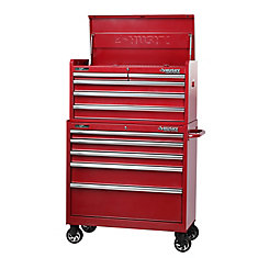 37 Inch 10-Drawer Tool Chest and Cabinet, Metallic Red