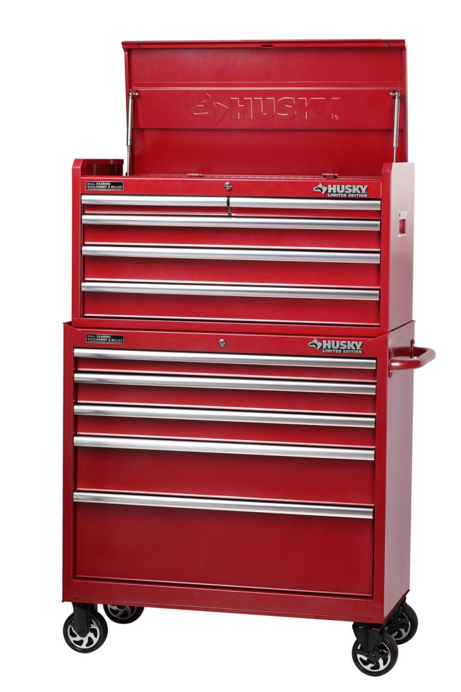 HUSKY 37 Inch 10-Drawer Tool Chest and Cabinet, Metallic Red