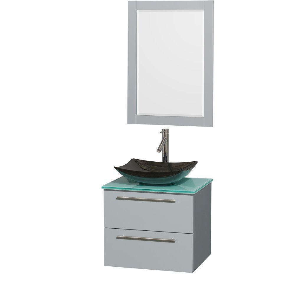 """Meuble s. bains simp Amare 24"""" gris colombe, comptoir verre vert, évier granit noir, mir 24"""""""