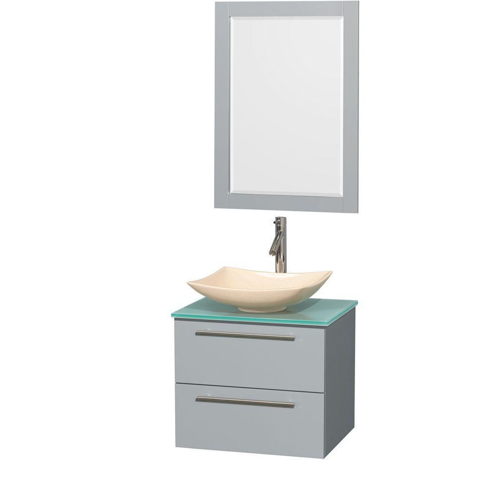 """Meuble s. bains simp Amare 24"""" gris colombe, comptoir verre vert, évier marbre ivoire, mir 24"""""""