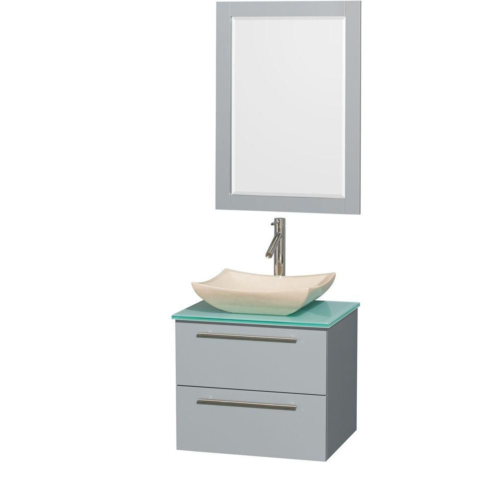 Amare 24-inch W Vanity in Dove Grey with Glass Top, Marble Sink and 24-inch Mirror