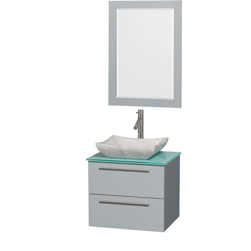 """Meuble s. bains simp Amare 24"""" gris colombe, comptoir verre vert, évier Carrare blc, mir 24"""""""