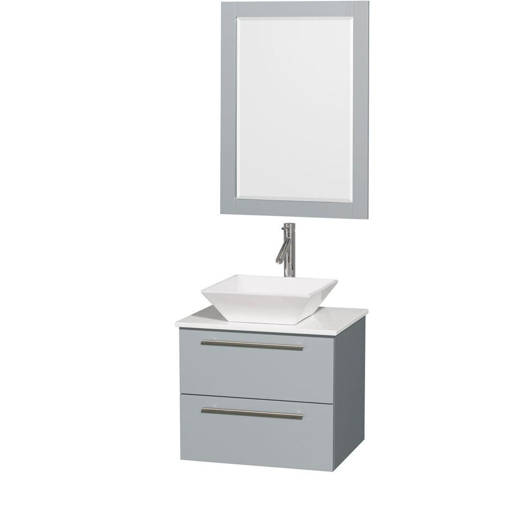 Amare 24-inch W Vanity in Dove Grey with Solid Top, Porcelain Sink and 24-inch Mirror