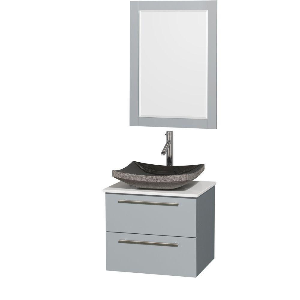 """Meuble s. bains simp Amare 24"""" gris colombe, comptoir solide blanc, évier granit noir, mir 24"""""""