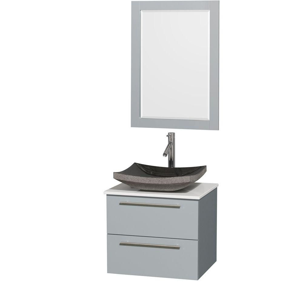 Amare 24-inch W Vanity in Dove Grey with Solid Top, Granite Sink and 24-inch Mirror