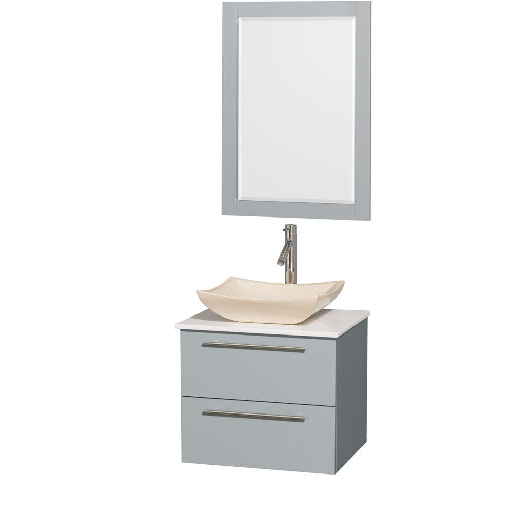 Amare 24-inch W Vanity in Dove Grey with Solid Top, Marble Sink and 24-inch Mirror