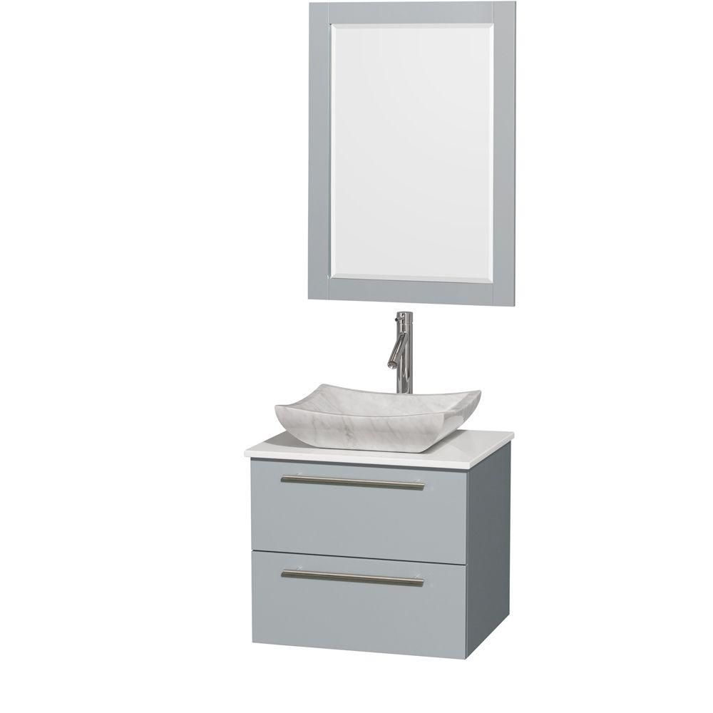 Amare 24-inch W Vanity in Dove Grey with Solid Top, Carrara Sink and 24-inch Mirror