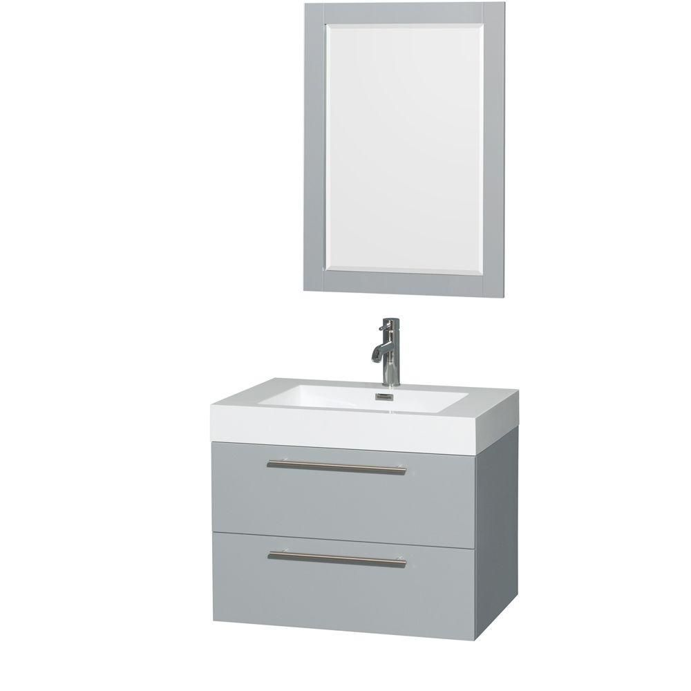 Amare 30-inch W Vanity in Dove Grey with Acrylic-Resin Top, Integrated Sink and 24-inch Mirror
