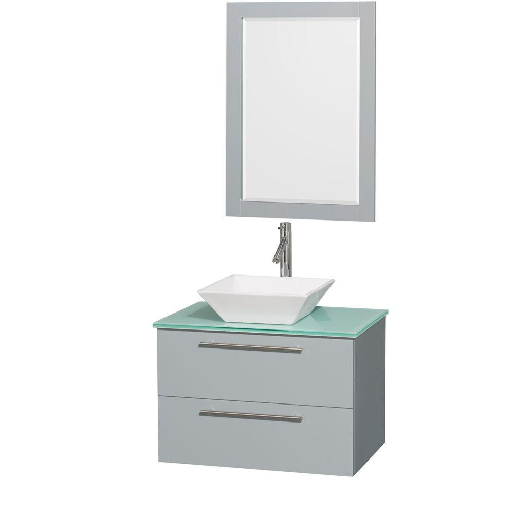 Amare 30-inch W Vanity in Dove Grey with Glass Top, Porcelain Sink and 24-inch Mirror