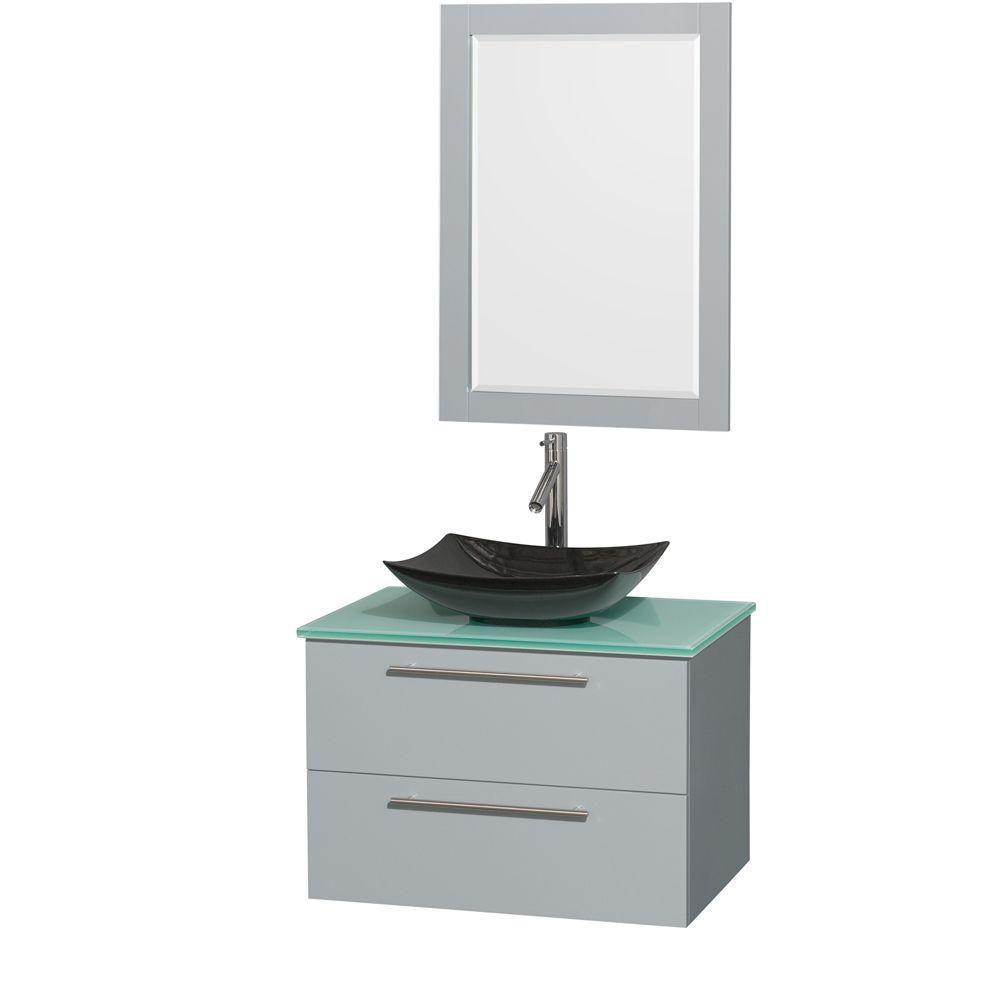 Amare 30-inch W Vanity in Dove Grey with Glass Top, Granite Sink and 24-inch Mirror
