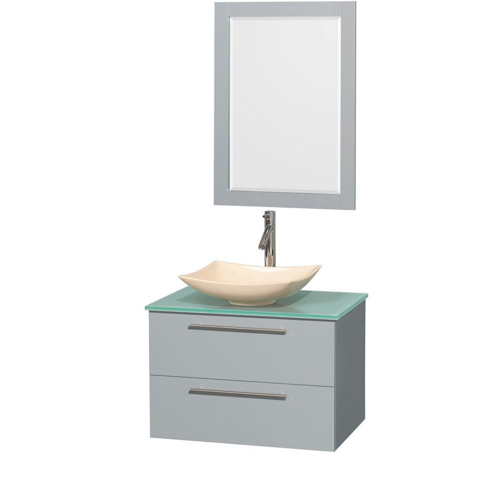 Amare 30-inch W Vanity in Dove Grey with Glass Top, Marble Sink and 24-inch Mirror