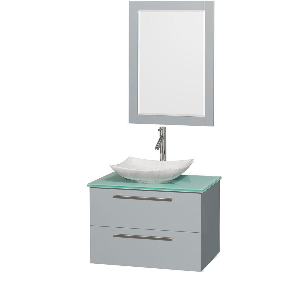 """Meuble s. bains simp Amare 30"""" gris colombe, comptoir verre vert, évier Carrare blc, mir 24"""""""